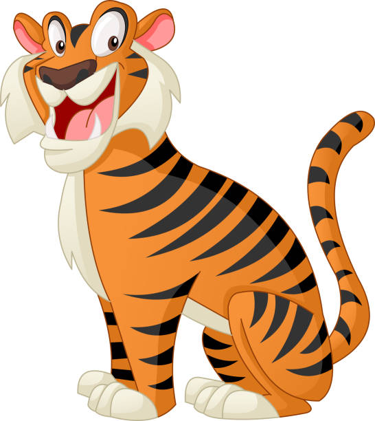 illustrations, cliparts, dessins animés et icônes de tigre mignon de bande dessinée. illustration vectorielle de funny animal heureux. - tigre