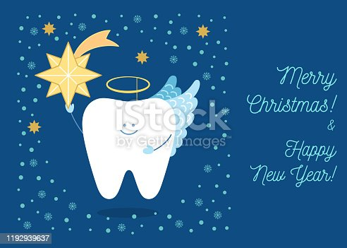 istock Cartoon cute tooth angel holding Christmas Bethlehem Star. Greeting card from dentistry. 1192939637