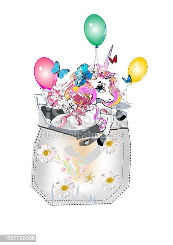 Cartoon cute unicorn character decorated with flowers and butterflies, ice-cream.