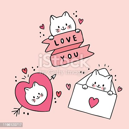 Cartoon cute Valentines day white cats and doodle love vector.