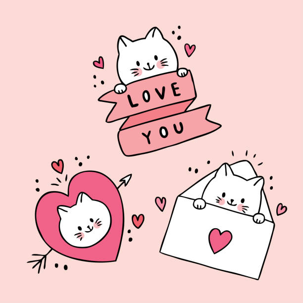 Cartoon cute Valentines day white cats and doodle love vector. Cartoon cute Valentines day white cats and doodle love vector. cat valentine stock illustrations