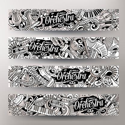 Cartoon cute vector hand drawn doodles Classic music banners