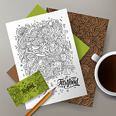 Cartoon cute line art vector hand drawn doodles Fast Food corporate identity set. Templates design of business card, flyers, posters, papers on the table.