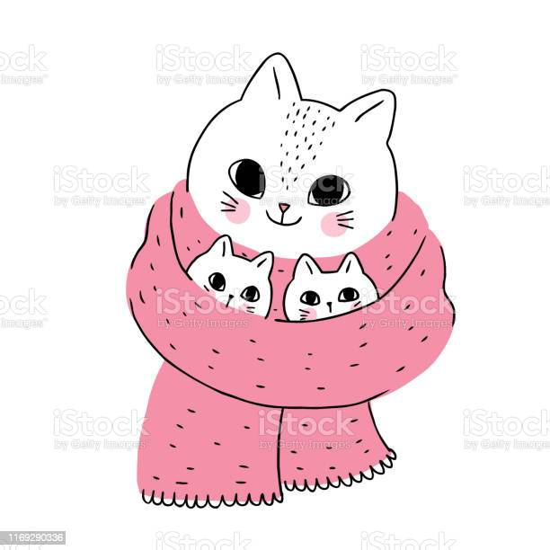 Cartoon cute winter cat and kitten vector vector id1169290336?b=1&k=6&m=1169290336&s=612x612&h=y5ezujy72pk1v2cqg2d 4llhakuwygemiv6xbwurmye=