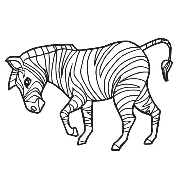 Cartoon Cute Zebra Coloring Page Vector Illustration Art