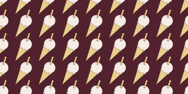 Dibujos animados lindochocolate marrón vector helado de hielo sin costuras. Diseño de patrón de superficie para fondo, tela o papel - ilustración de arte vectorial