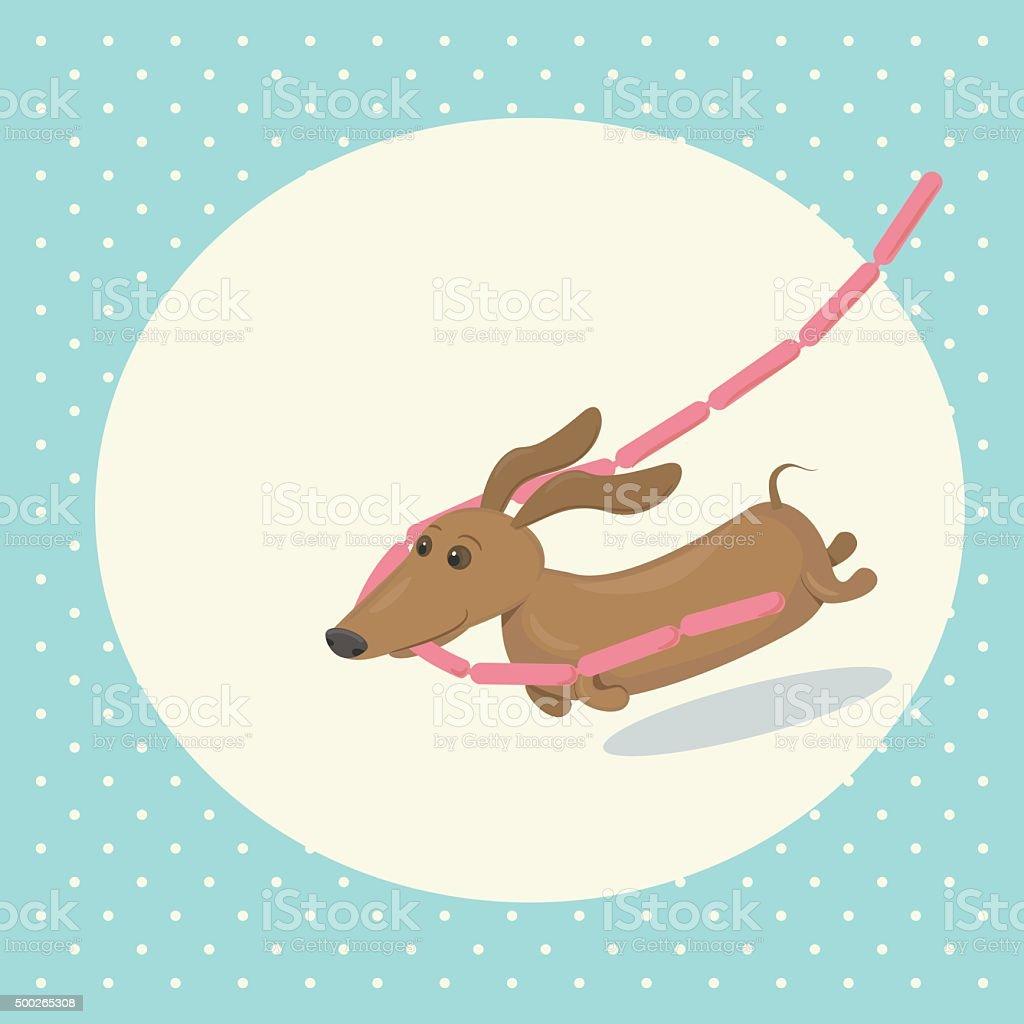 Cartoon dachshund stealing sausages vector art illustration