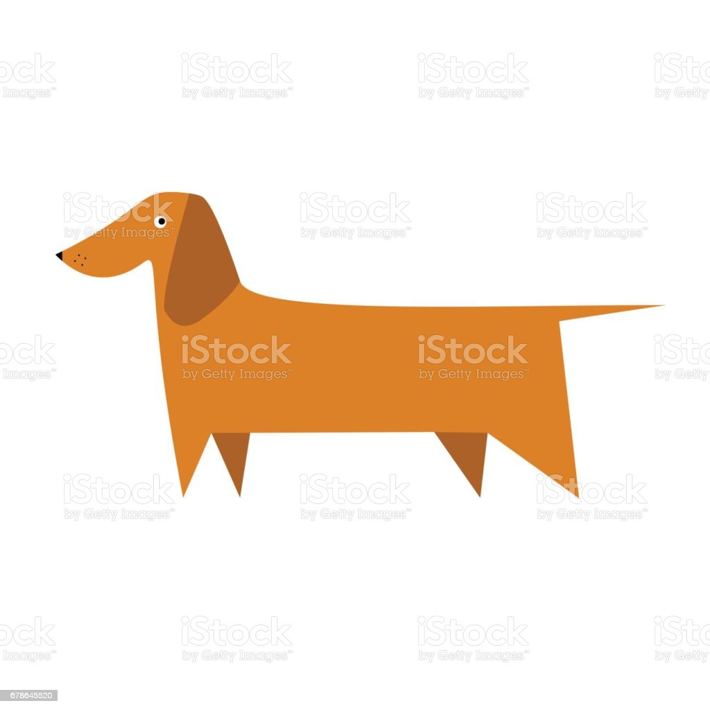 Cartoon dachshund vector art illustration