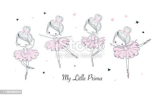 Cartoon dancing ballerina vector illustrations set