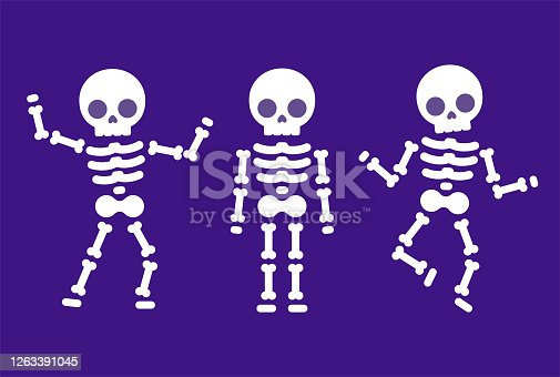 istock Cartoon dancing skeleton 1263391045