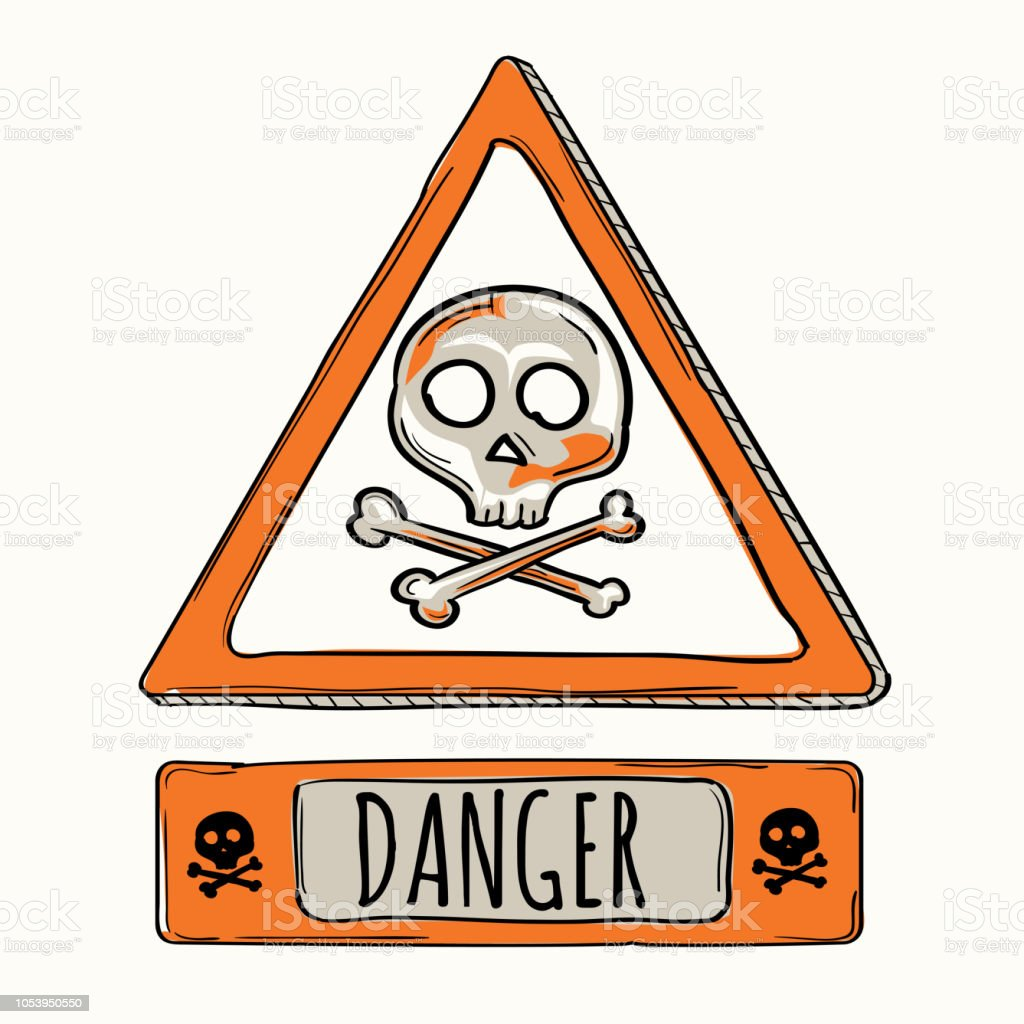 Cartoon Danger Sign Skull And Bones Stock Illustration