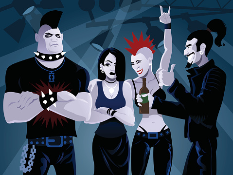 Cartoon Dark, Gothic Looking People at Concert