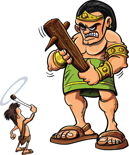 cartoon david and goliath - salud stock illustrations