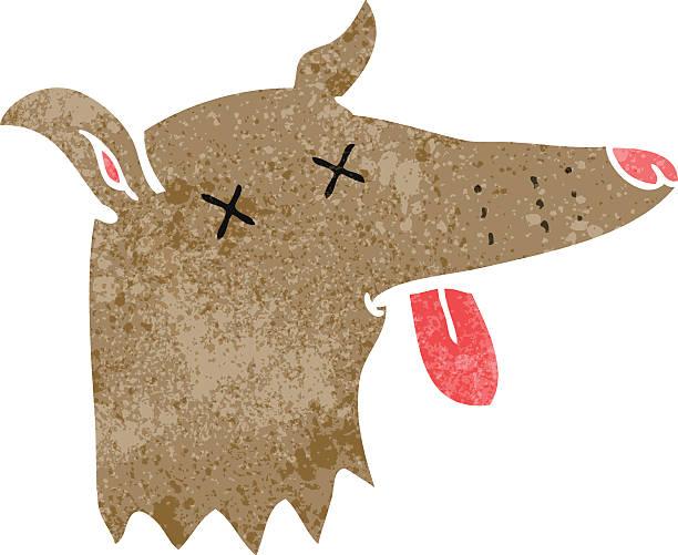 cartoon dead dog face vector art illustration