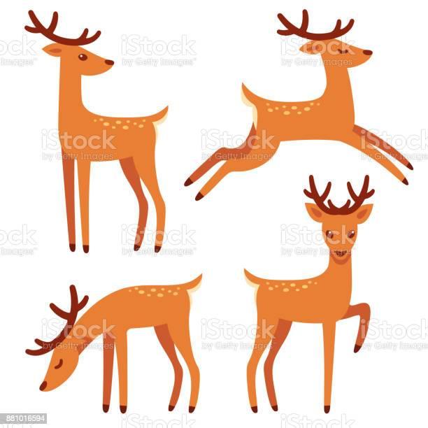 Cartoonhirschsatz Stock Vektor Art und mehr Bilder von Bock - Männliches Tier