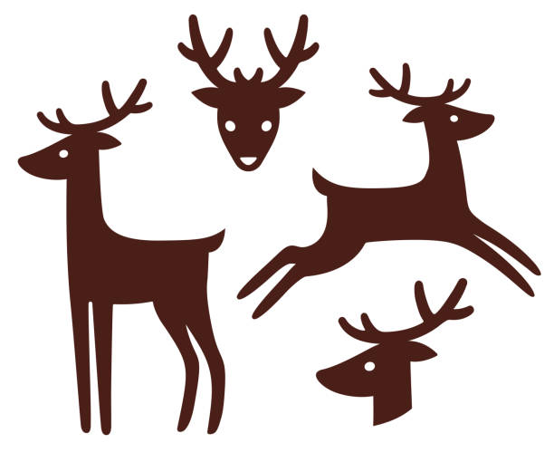 Cartoon deer silhouette set vector art illustration