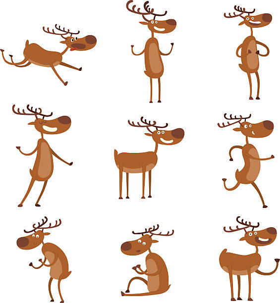 cartoon deer vector character - reindeer stock illustrations