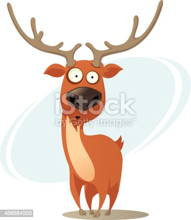 Funny cartoon deer .