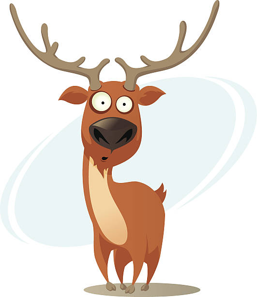 comic deer - rentier stock-grafiken, -clipart, -cartoons und -symbole