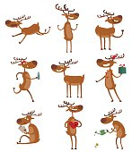 Cute deer cartoon running comic wild vector character. Vector wild mammal cartoon deer celebration, humor mascot. Elk antler clip art holiday symbol stag nature cartoon deer forest animal set.