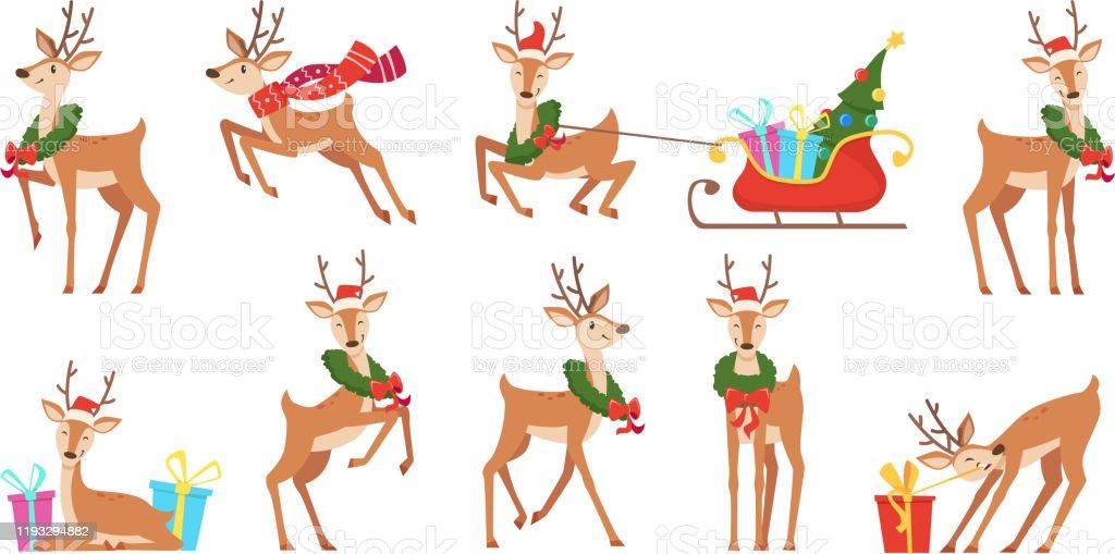 Cartoon Hirsch. Winterfeier Märchentiere Reindeer läuft Vektor Weihnachten Charakter - Lizenzfrei Bewegung Vektorgrafik