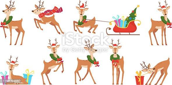 Cartoon deer. Winter celebration fairytale animals reindeer running vector christmas character. Reindeer happy run, character antler with sleigh and wreath illustration