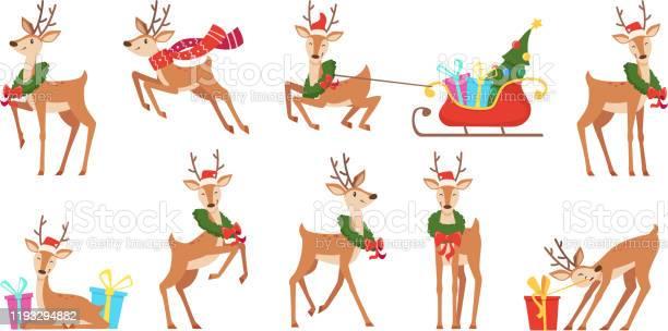 Cartoon Hirsch Winterfeier Märchentiere Reindeer Läuft Vektor Weihnachten Charakter Stock Vektor Art und mehr Bilder von Bewegung