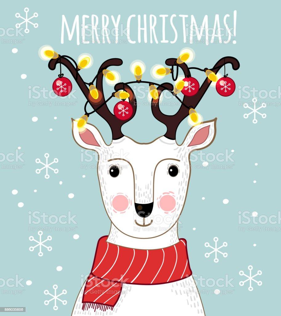 Dibujos Impresionantes De Navidad.Ilustracion De Dibujos Animados Ciervos Con Cornamentas