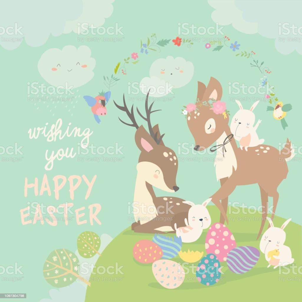 Cartoon Deers with cute bunnies. Happy animals for Easter. Vector...