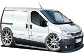 cartoon delivery / cargo van. Available cdr-12 and ai-10 vector formats separated by groups for easy edit