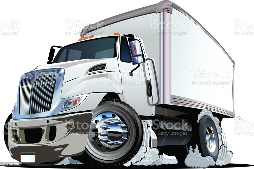 Cartoon Delivery Or Cargo Truck Stock Illustration ...