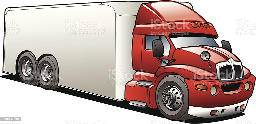 Cartoon Delivery Semi Truck - Royalty-free Car stock vector