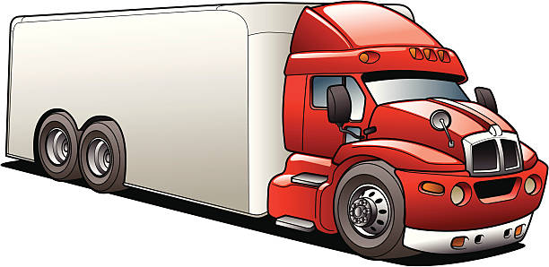 Cartoon Delivery Semi Truck vector art illustration