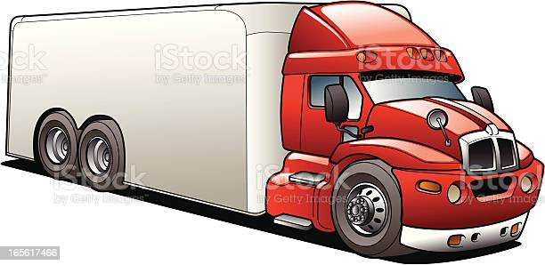 Cartoon Delivery Semi Truck Stock Illustration - Download Image Now