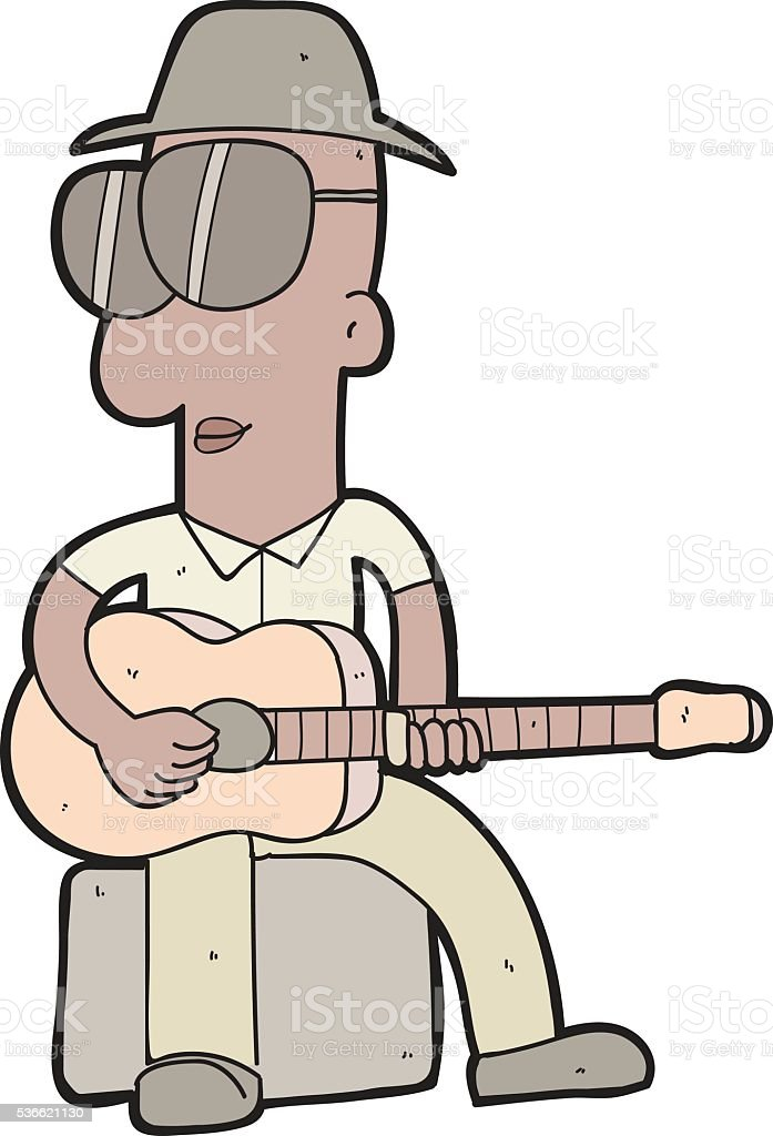 Cartoon Delta Blues Man With Slide Stock Illustration