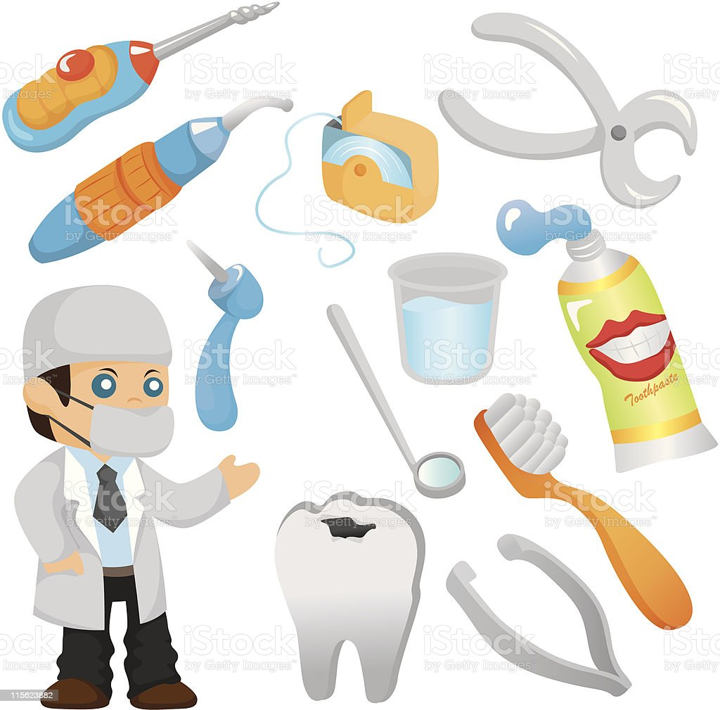 cartoon Dentist tool icon set royalty-free stock vector art