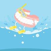 cartoon denture with surfing
