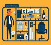 A cartoon depicting a male entrepreneur