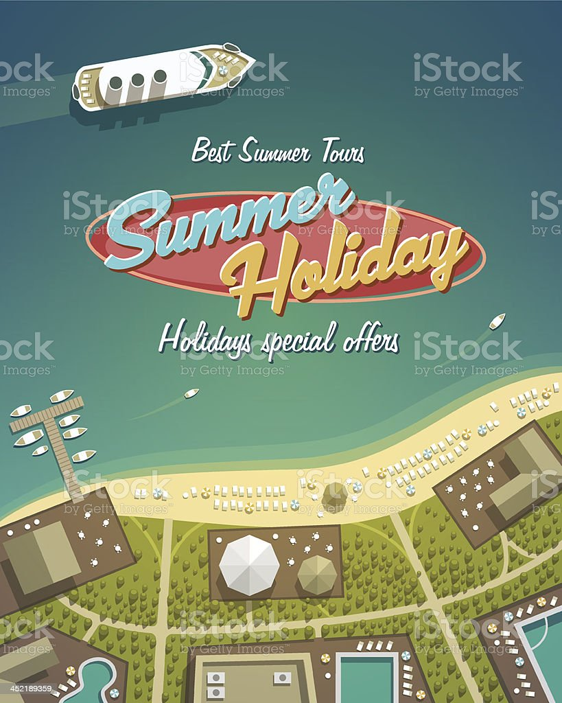 Cartoon depiction of a summer holiday island resort vector art illustration