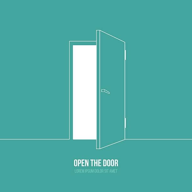 A cartoon depiction of an open door with a caption under it Vector illustration of open door. Symbol of freedom, hope, success, new way door stock illustrations