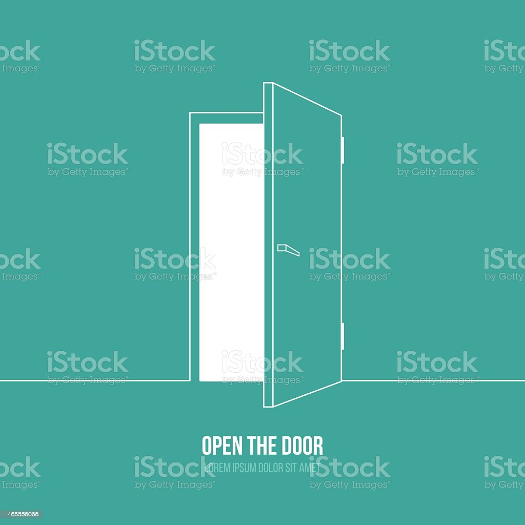 A cartoon depiction of an open door with a caption under it vector art illustration