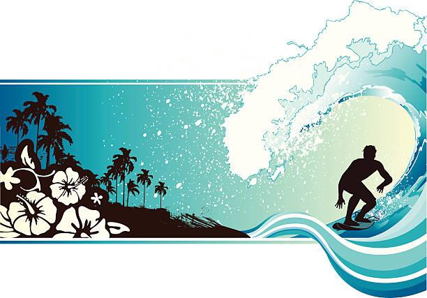 サーフィンの風景 - サーフィン点のイラスト素材/クリップアート素材/マンガ素材/アイコン素材