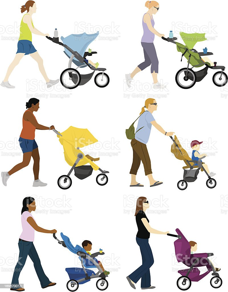 A cartoon depiction of multiple moms pushing stroller vector art illustration
