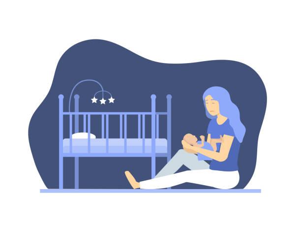 新生児コンセプトキャラクターの人を持つ漫画のうつ病の女性。ベクトル - シングルマザー点のイラスト素材/クリップアート素材/マンガ素材/アイコン素材