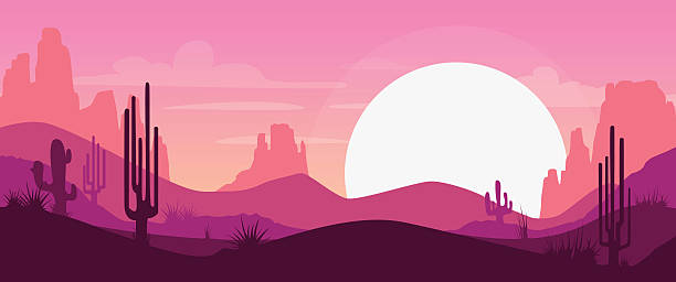 Cartoon desert landscape vector art illustration