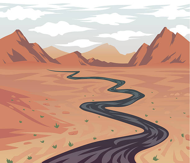 Cartoon Desert Road Leading to Canyon vector art illustration