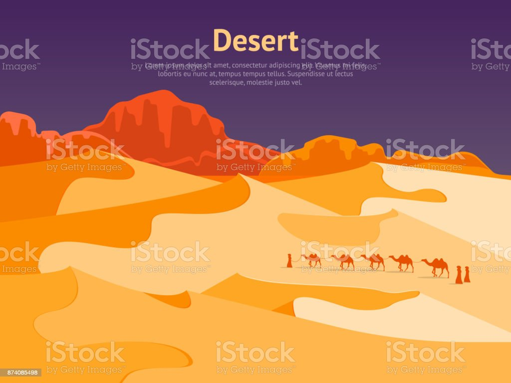 Cartoon Desert with Silhouettes Camels and People Card Poster. Vector vector art illustration