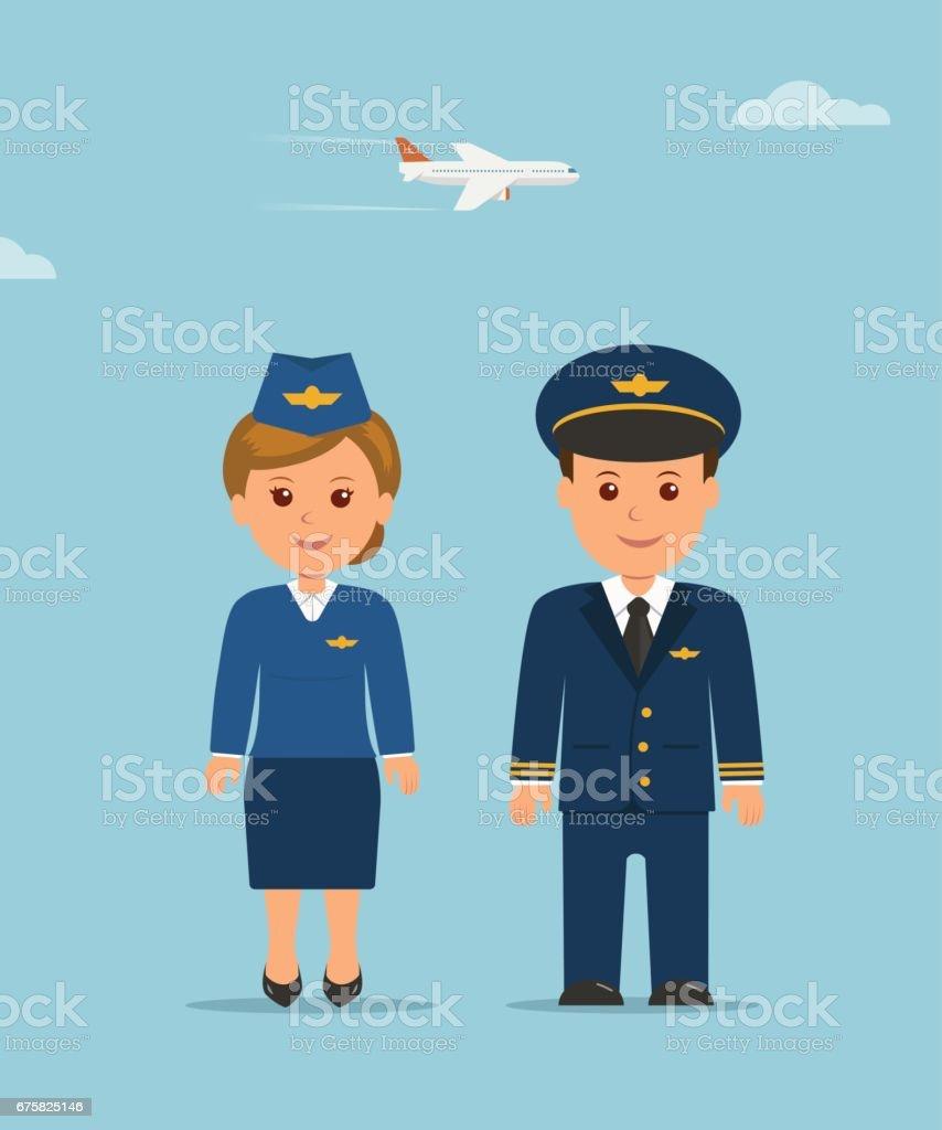 cartoon design characters stewardess and pilot vertical flat
