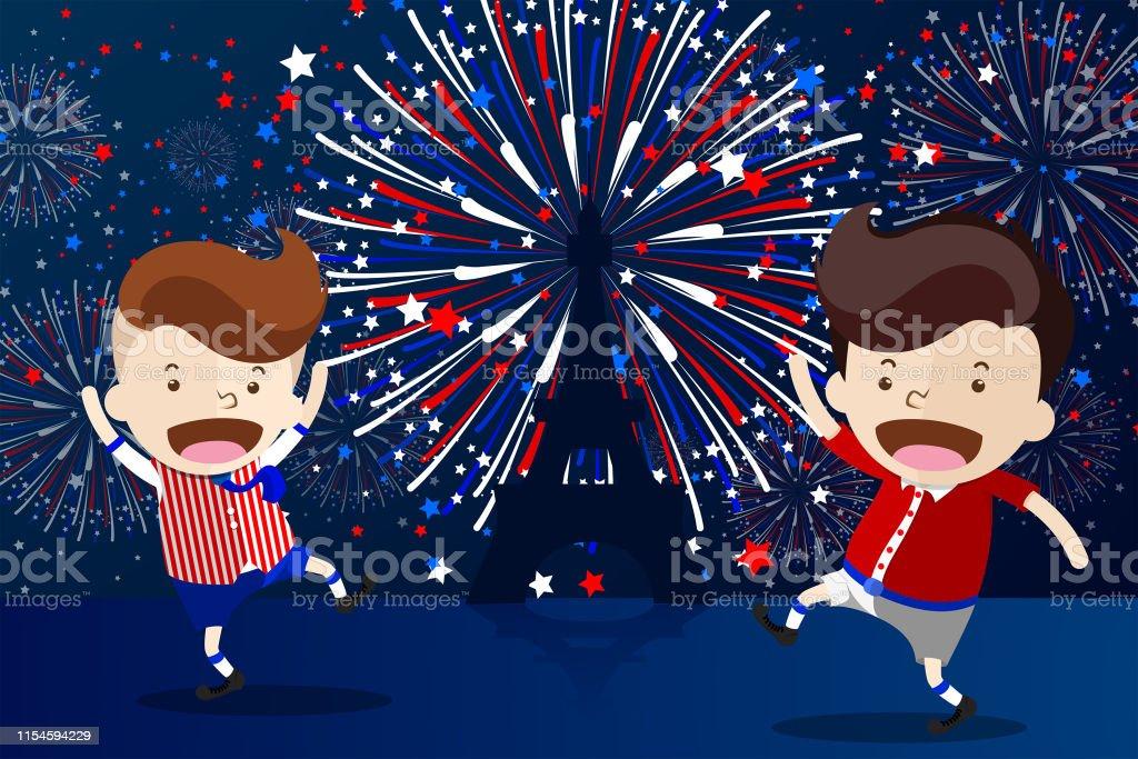 Ilustracion De Diseno De Dibujos Animados Para El 14 De Julio Dia De