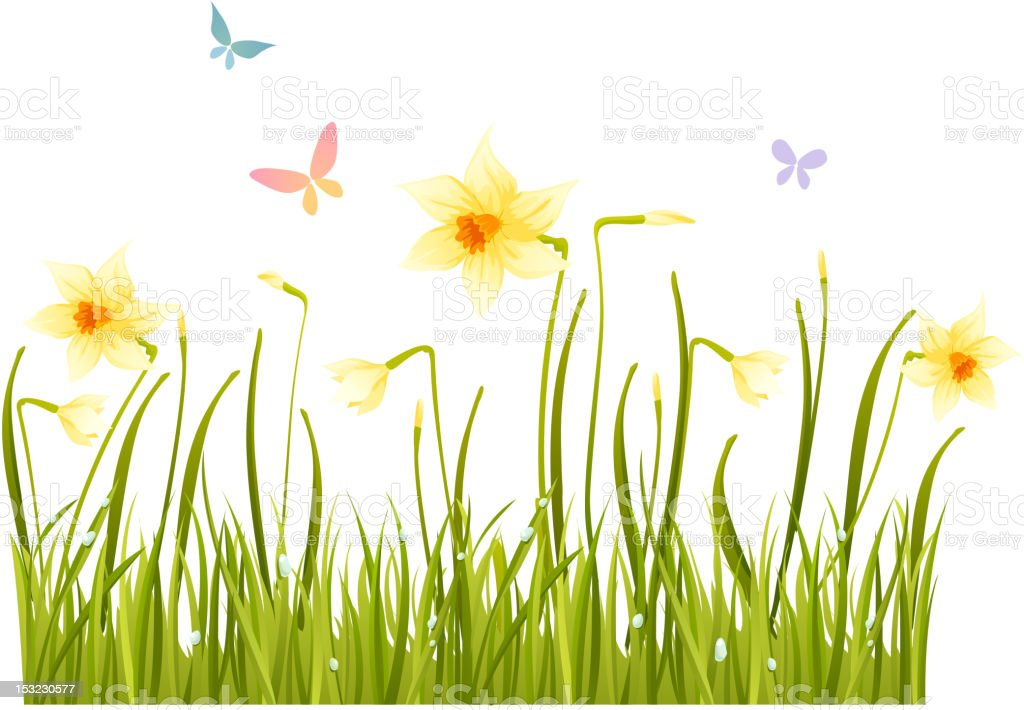 A cartoon design of a field of grass with butterflies vector art illustration